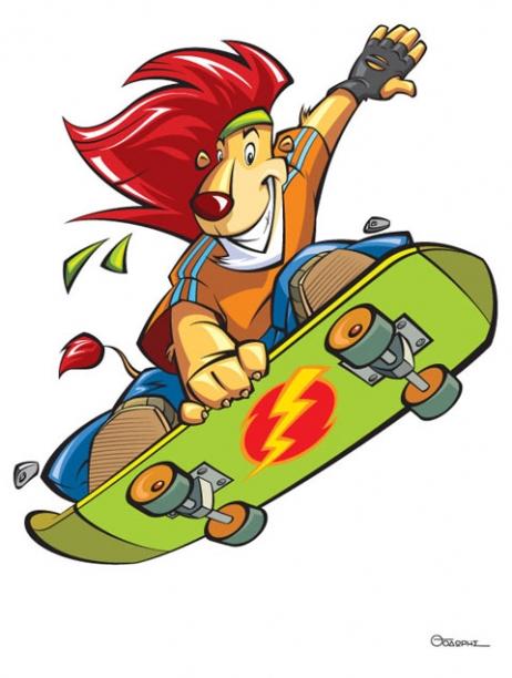 Skate Lion Mascot