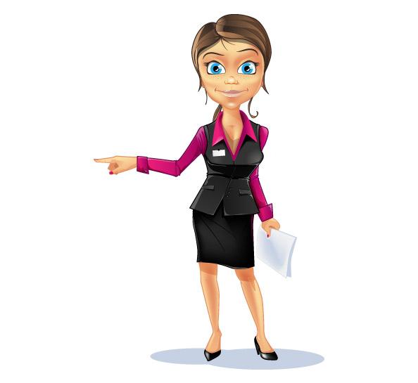 Lady Cartoon Characters : Secretary