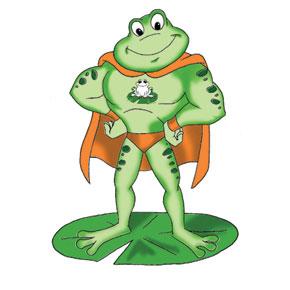 Superhero Frog Mascot