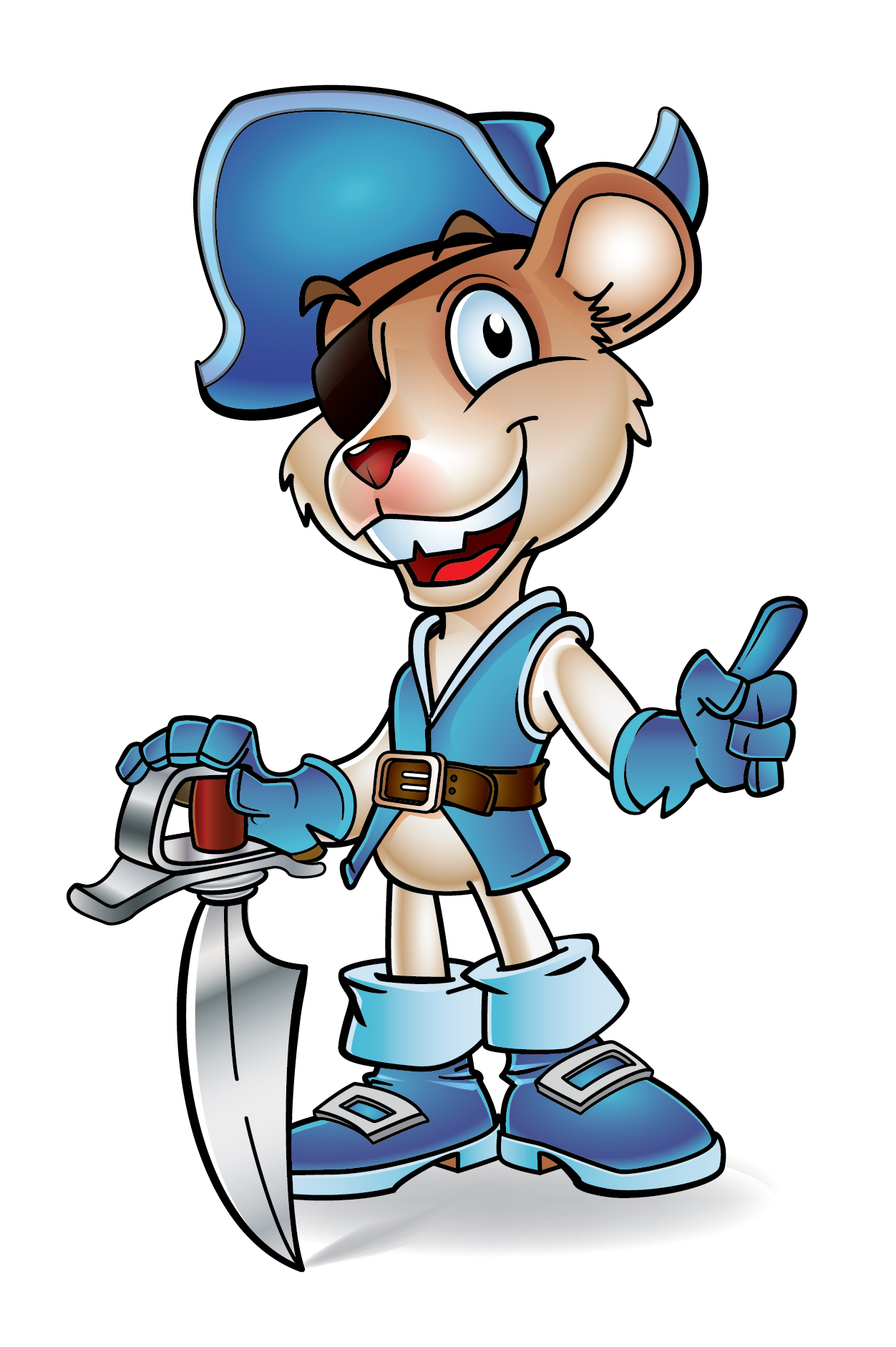 Captain Pirate Mouse Mascot