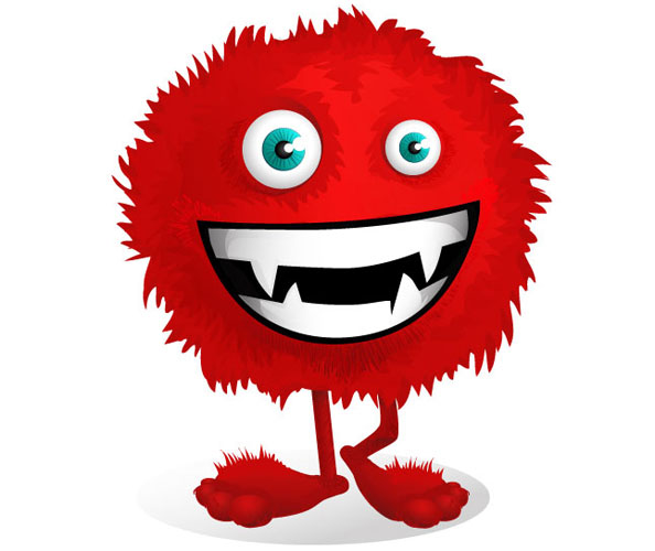 Red Fluffy Monster Mascot