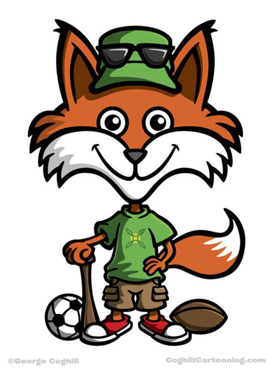 Green Fox Mascot