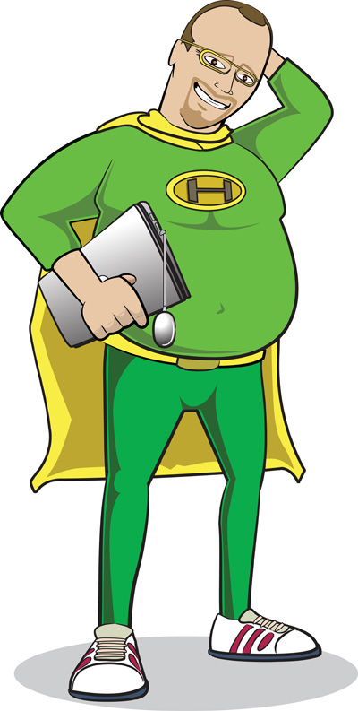 Geek Superhero Mascot