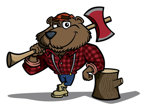 Wood-Chopper Bear Mascot