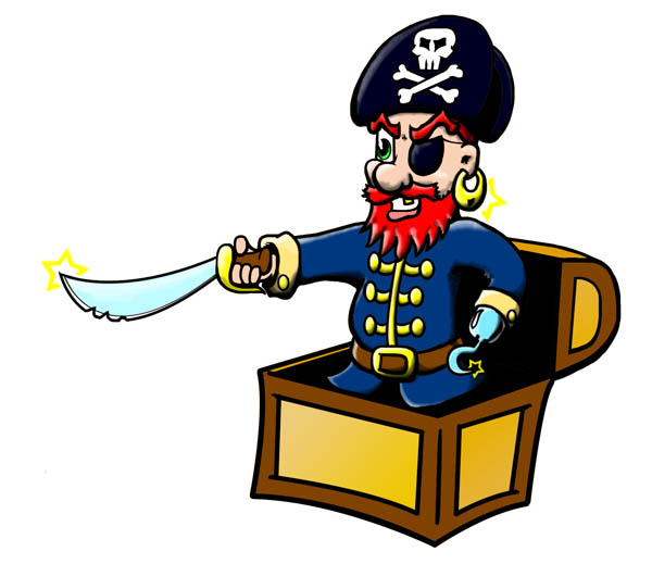 Pirate In Box Mascot