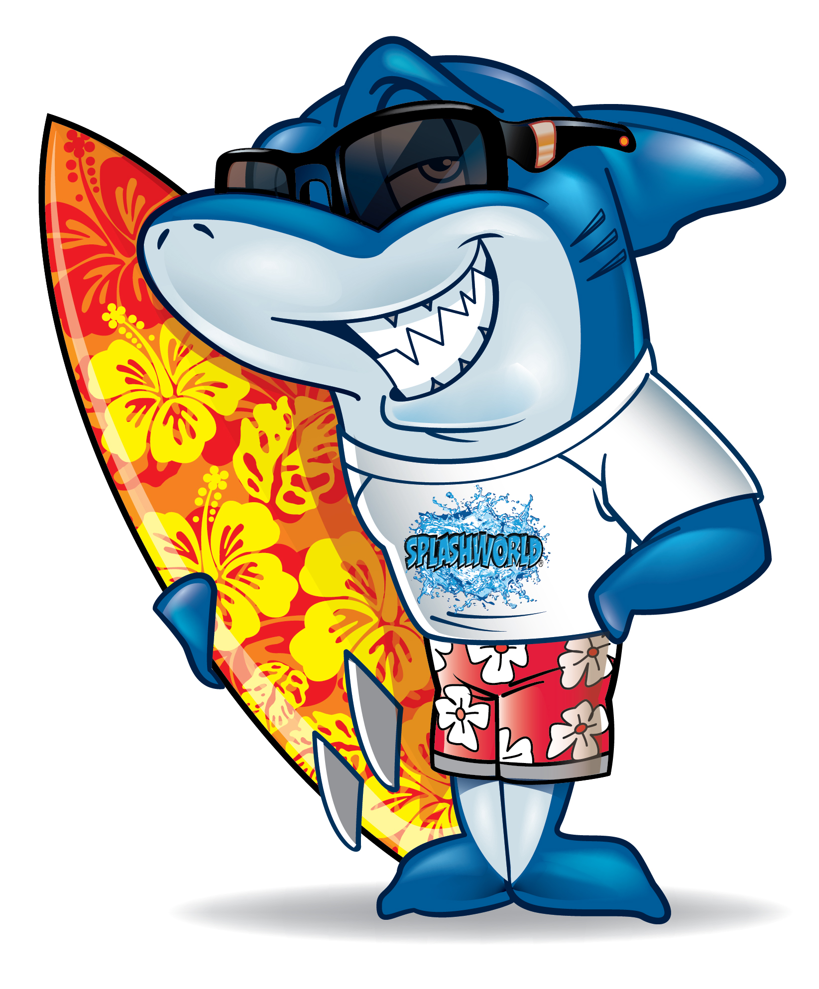 Surfing Shark Mascot