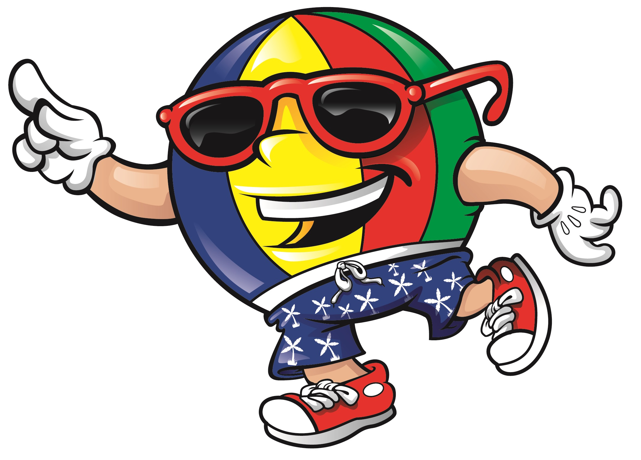 Colorful Beach Ball Mascot