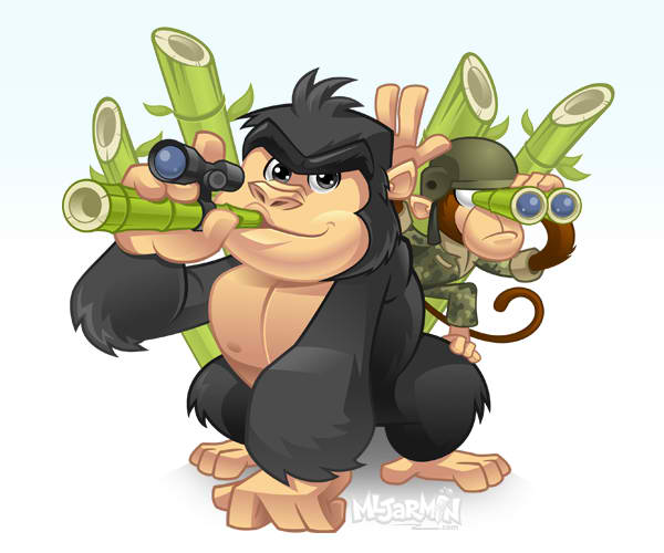 Gorilla Bamboo Mascot