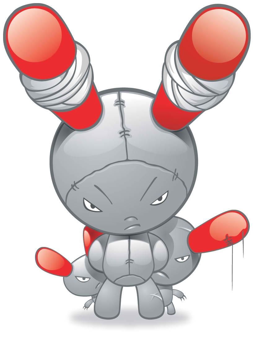 Angry Robot Bunny Mascot