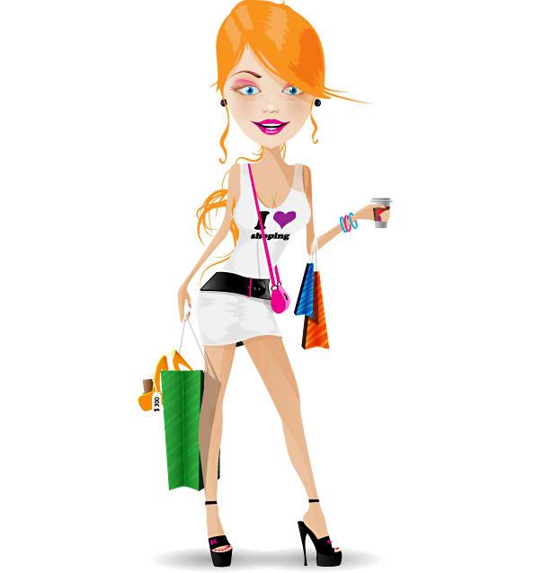 Shopaholic Girl Mascot