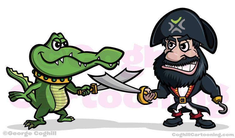 Alligator and Pirate Mascot