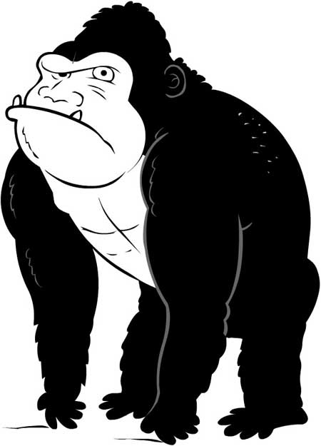 Black & White Gorilla Mascot