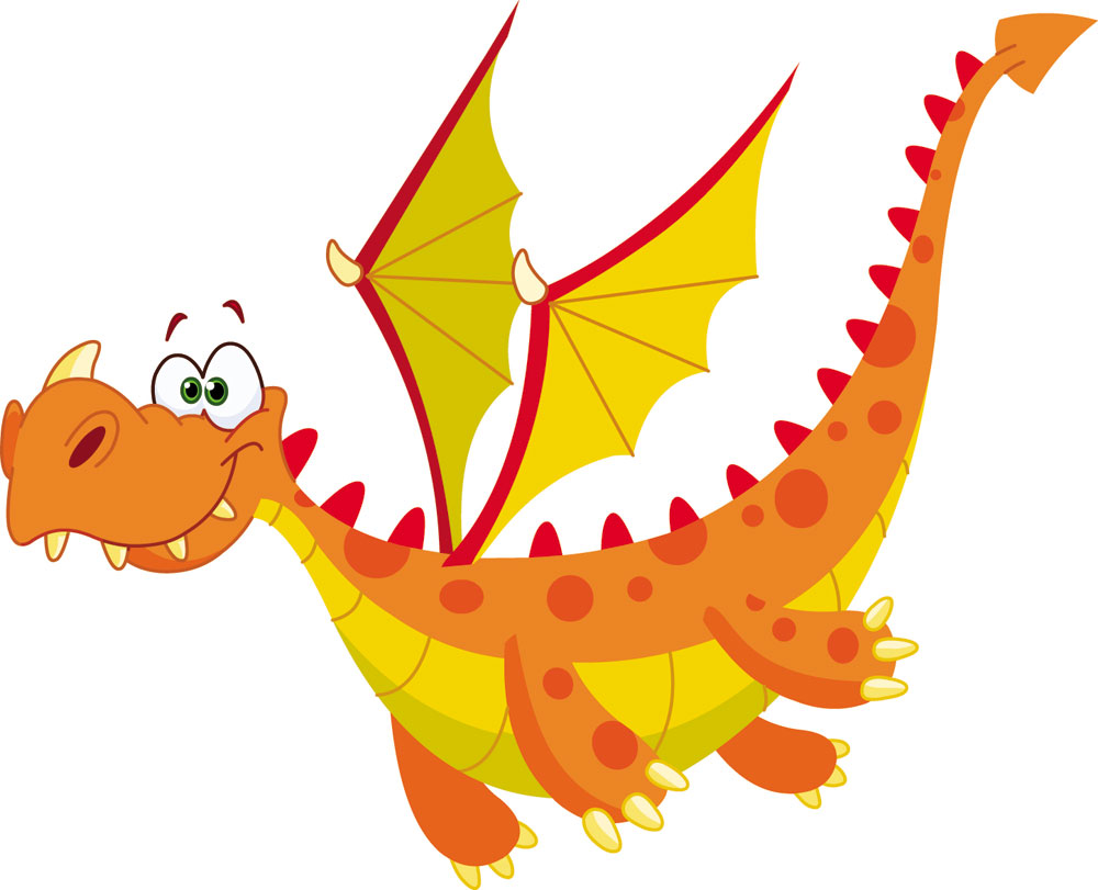 Flying Orange Dragon Mascot