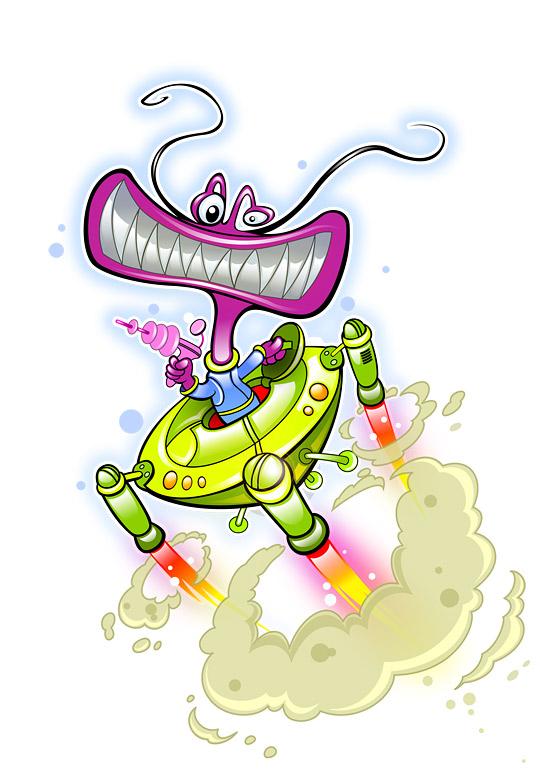 Alien in UFO Mascot