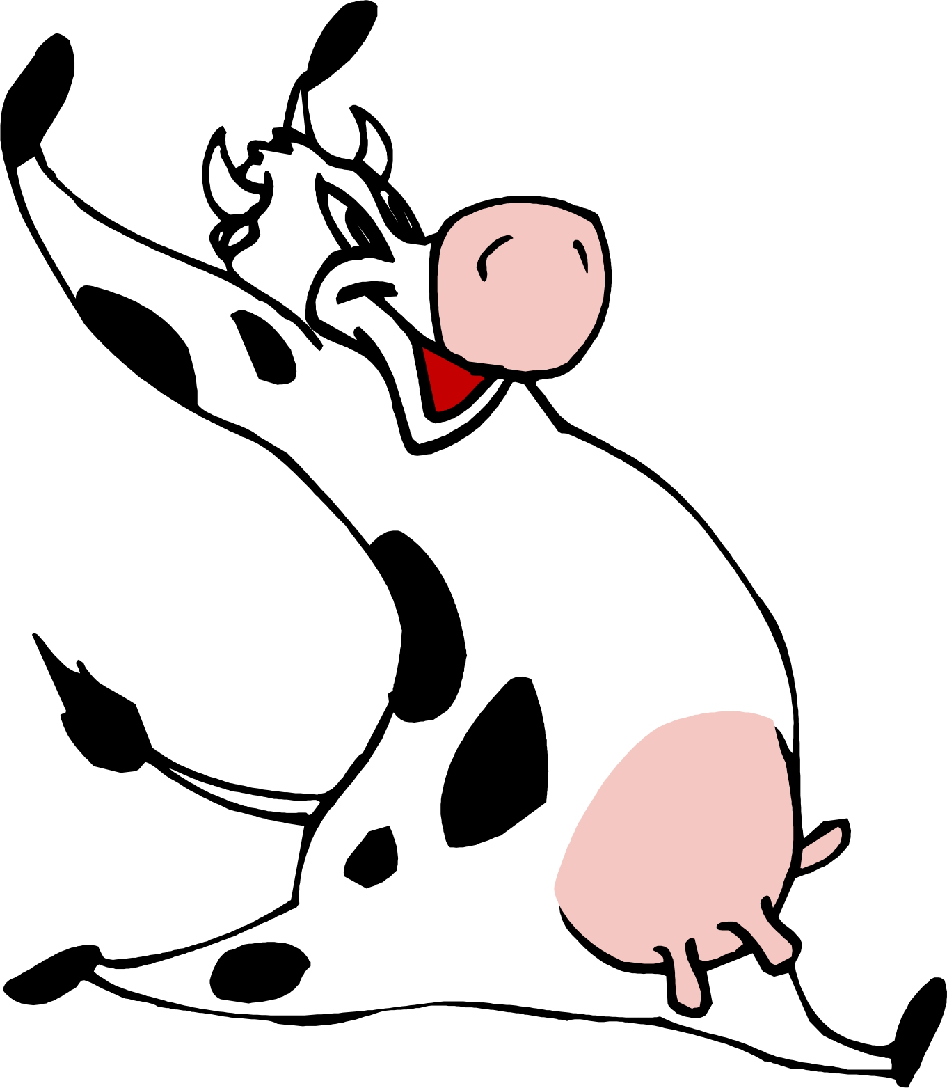 Happy Running Cow Mascot