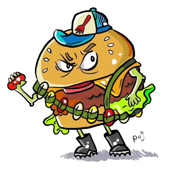 Angry Burger Mascot