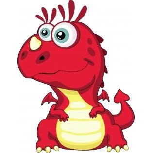 Cute Little Red Dragon Mascot