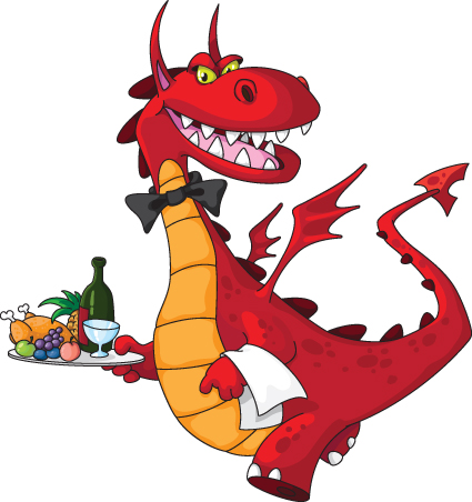 Dragon Waiter Mascot