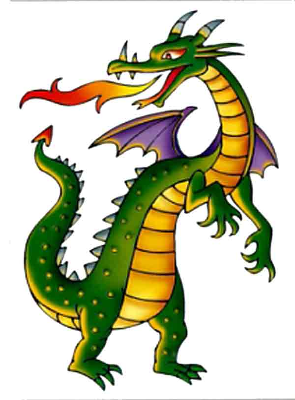 Angry Fire Breathing Dragon Mascot