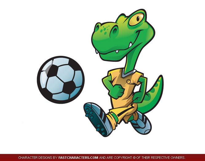 Dino Soccer Player Mascot