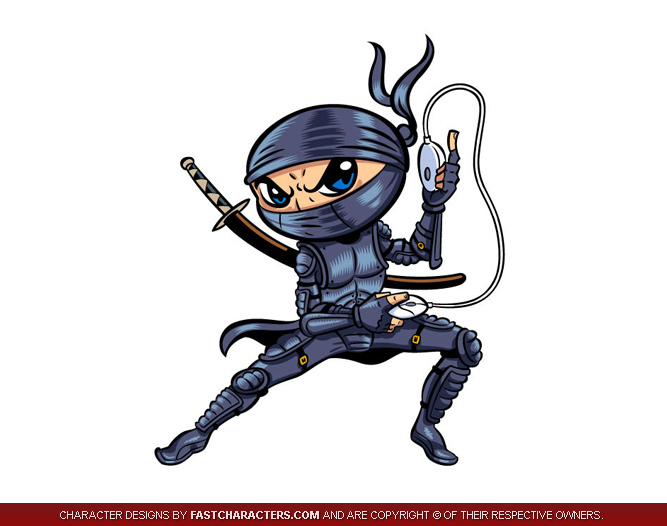 Black Ninja Warrior Mascot