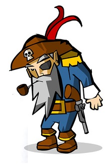 Old Man Pirate Captain Mascot