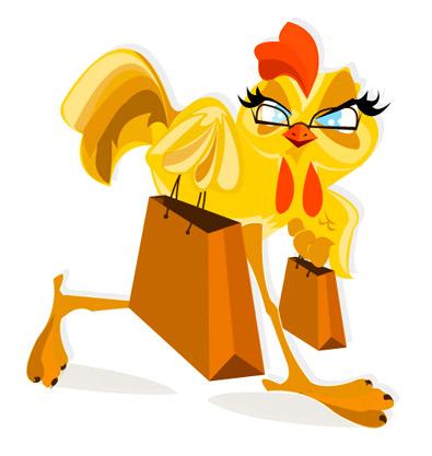 Shopping Chicken Mascot