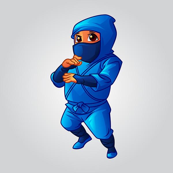 Blue Ninja Mascot