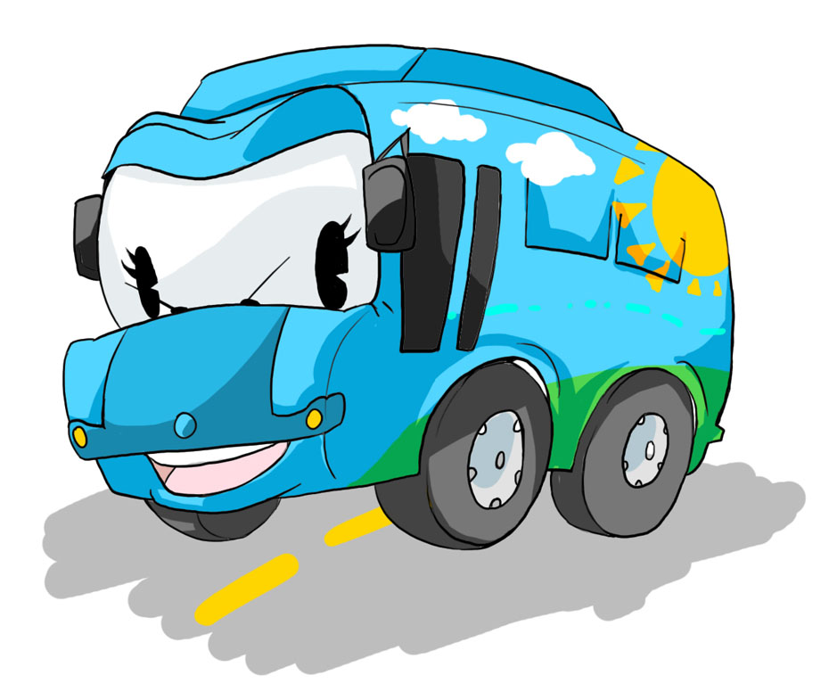 Blue Bus Cartoon Mascot