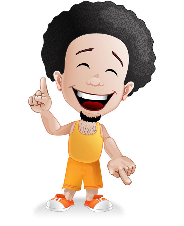 Happy Afro Guy Mascot