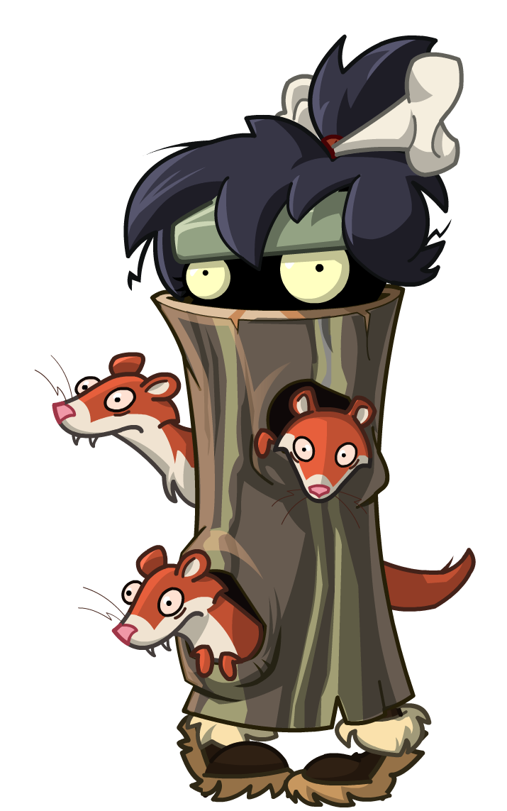 Weasel Hoarder Zombie with Log